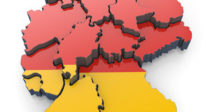Map of Germany in German flag colors.