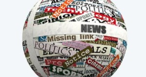 conceptual, sphere realized with clippings of newspaper - rendering